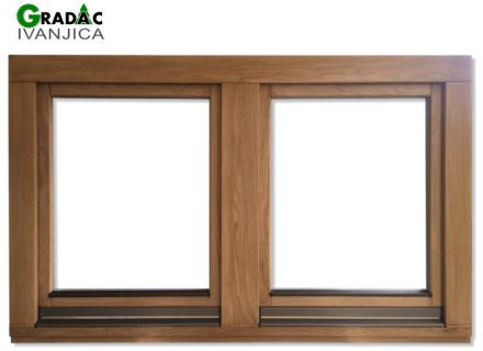 Ekskluzivna drvena stolarija, drveni dvokrilni prozor od lameliranog drveta, euro falc 68, hrast
