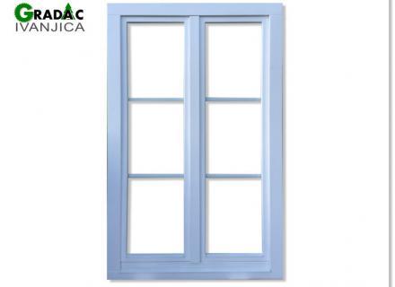 Dvokrilni drveni prozor od lameliranog drveta Eurofalc 68 u beloj boji