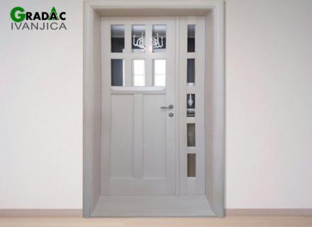 Dvokrilna drvena sobna vrata od lameliranog drveta, kombinacija staklenih i drvenih panela