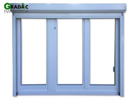 Drveni trokrilni prozor od lameliranog drveta, euro falc 68, beli, sa aluminijumskom roletom i rolo komarnikom - Stolarija Gradac Ivanjica