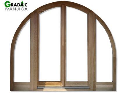 Ekskluzivna drvena stolarija, drvena četverokrilna poluokrugla balkonska vrata od lameliranog drveta sa 2 okretno zakretna dela