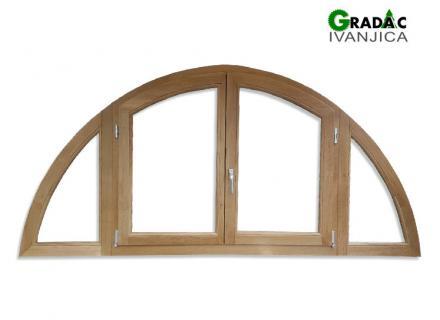 Ekskluzivna drvena stolarija, drveni četvorokrilni poluokrugli prozor od lameliranog drveta sa 2 okretno zakretna dela