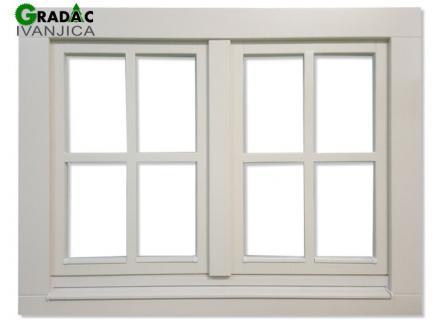 Drveni dvokrilni prozor od lameliranog drveta, Eurofalc 92 sa troslojnim staklom