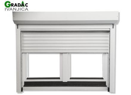 Drveni dvokrilni prozor, euro falc 68, beli, sa aluminijumskom roletom i rolo komarnikom