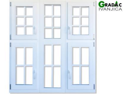 Trokrilni drveni prozor, sa 4 krila i dva fiksera - stolarija Gradac Ivanjica.