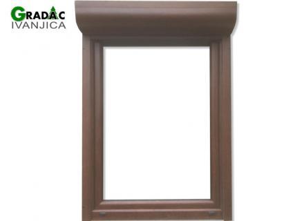 Drvo aluminijum, jednokrilni zaokretno - otlopni prozor i aluminijumska roletna