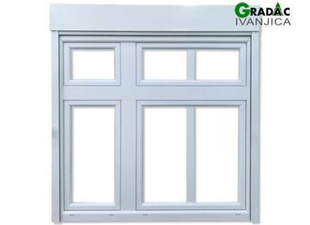 Drvo Aluminijum trokrilni prozor sa kapitelom, profil 90mm, troslojno staklo, sa roletnom i komarnikom - stolarija Gradac Ivanjica.