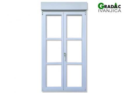 Dvokrilna balkonska vrata profil drvo aluminijum 90 mm, troslojno staklo, sa roletnom - stolarija Gradac, Ivanjica.