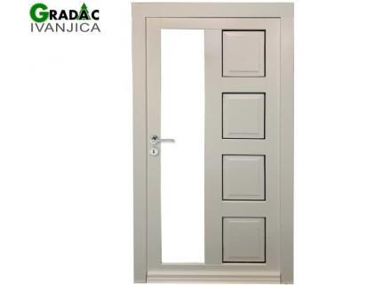 Drvena ulazna vrata sa jednim uspravnim staklenim poljem, Euro falc 68, stolarija Gradac Ivanjica.