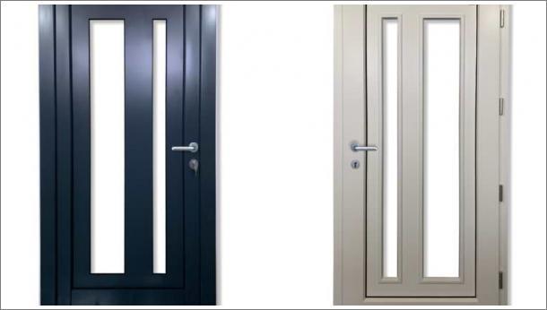 Drvo aluminijum ulazna vrata sa 2 uspravna staklena polja, spolja metalik sivi aluminijum, iznutra lamelirano drvo obojano u belu boju, stolarija Gradac Ivanjica.